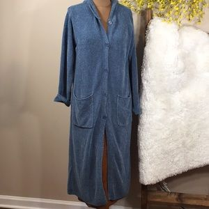 Denim & Co Chenille Duster Long Blue Cardigan